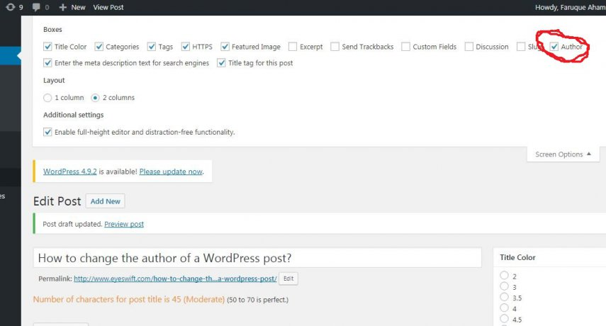 change author name of WordPress post