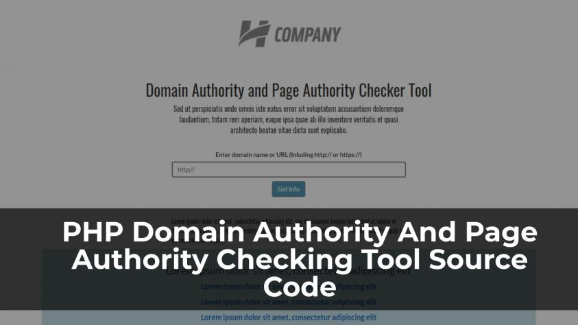PHP Domain Authority And Page Authority Checker Script Source Code