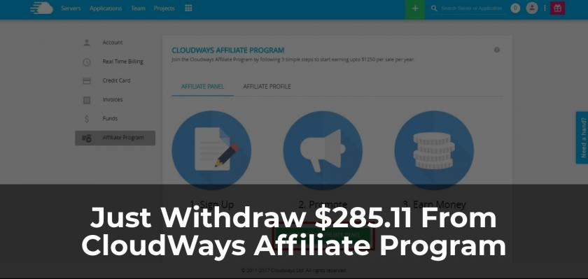 I Have Just Withdraw $285.11 From CloudWays Affiliate Program