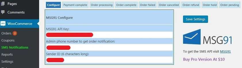 WooCommerce order sms notification plugin