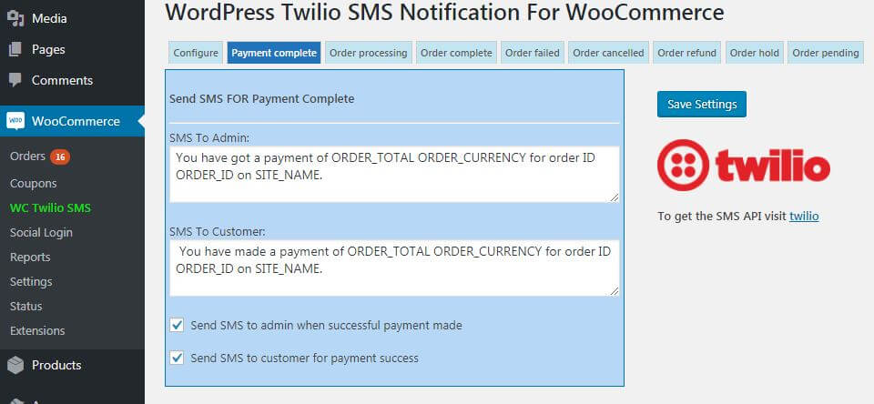 WooCommerce Twilio Payment Complete SMS Setup