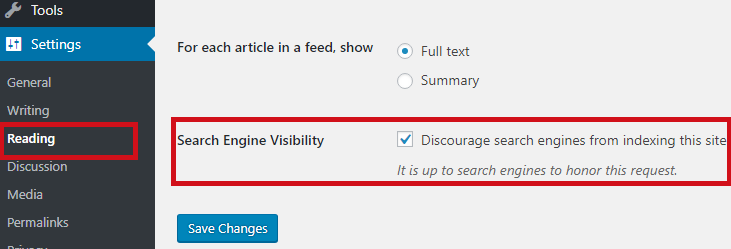 WordPress search engine visibility