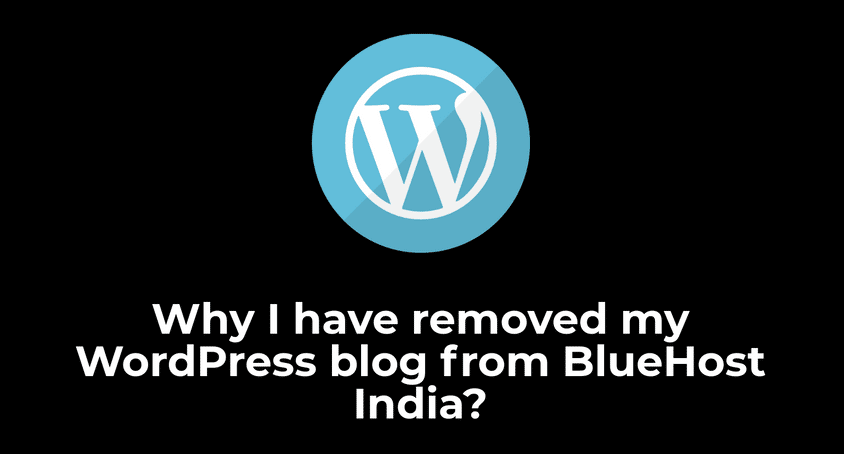 removed my WordPress blog from BlueHost India